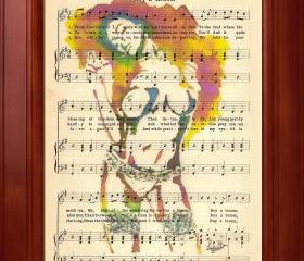 Nude - Print of my original painting on a page of sheet music from 1909
