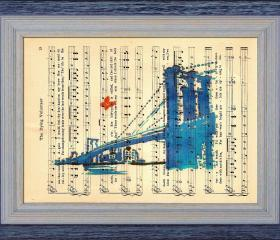 Brooklyn - Print Of My Original Painting On A Page Of Sheet Music From 1909